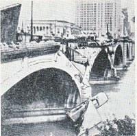 Most poškozený bleskem